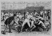 COLLEGE FOOTBALL 1879 ANTIQUE ENGRAVING YALE VS PRINCETON EARLY FOOTBALL SPORTS