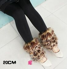 Fashion faux fur funky leg warmers boots cover club dance shoes cover ornament