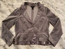 White House Black Market WHBM Velvet Blazer Satin Ruffle Neck & Hem Gray 12