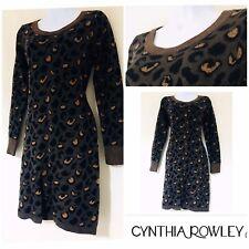 Women's Jumper Dress Cynthia Rowley DESIGNER Leopard Print UK 10 Xmas Cosy