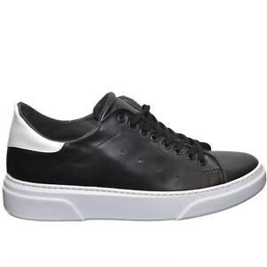 Scarpe uomo sneakers bassa invernale vera pelle bianco fondo nera linea basic ma