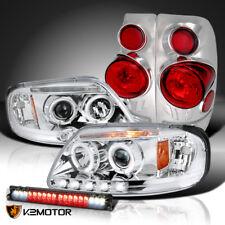 97-03 Ford F150 Chrome LED Projector Headlights+Tail+Smoke LED 3rd Brake Light