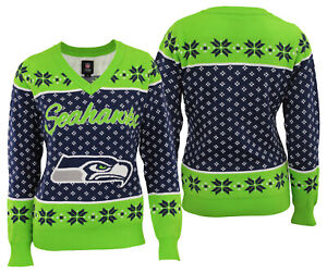 Forever Collectibles NFL Football Womens Seattle Seahawks V-Neck Holiday Sweater