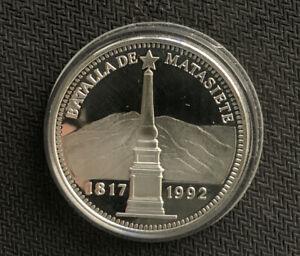 1992 VENEZUELA 500 BOLIVARES Battla De Matasiete .9 Oz SIlver prf & *No Reserve!