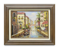 NY Art- Impressionist Venice Canal Scene 12x16 Oil Painting with Frame!