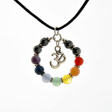 7 CHAKRA OHM OM Pendant  Necklace Natural Gemstone Multicolor Rainbow