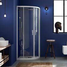 Box doccia semicircolare 70x90 con vetro trasparente profili in alluminio bianco