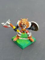 Vintage Chaos Warrior Metal Figure With Axe & Shield Warhammer Wolf Head 1990s