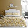 Catherine Lansfield Duvet Set Reversible Damask Bedding Ochre Pillowcase Curtain
