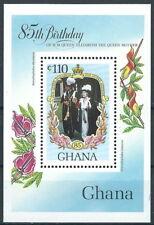 Ghana - 85. cumpleaños de la reina madre bloque 116 post frescos 1985 mié. 1091