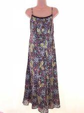 HOBBS vintage brown leaf floral print sequin detail midi dress size 14 euro 42