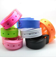 NEW Men's Plain Smooth Silicone Rubber Leather Belt Plastic Buckle PD020
