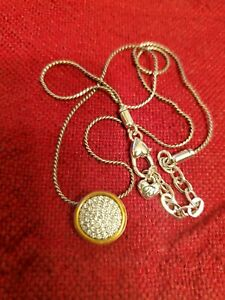 Gold Micro-Pave Cubic Zirconia Circle Pendant Necklace Brighton