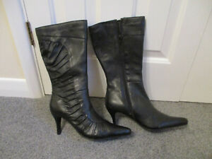Ladies size 4 black leather calf length boots - new and boxed