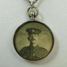 ANTIQUE SILVER (TESTED) PICTURE LOCKET PENDANT & CHAIN C.1915 - 15.7 GRAMS