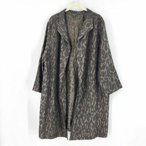 Eileen Fisher Blurred Ikat Jacquard Jacket 1X Women Rye Leopard Print 3/4 Sleeve