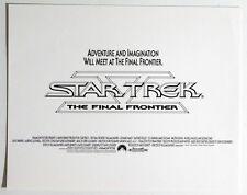 Star Trek 5 THE FINAL FRONTIER original US Promo Druck Pressefoto Text