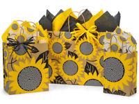 SUNFLOWER FIELDS Kraft Shopping Gift Paper Bag Choose Size & Pack Amount