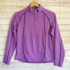 Performance Womens Athletic Running Biking Top Size L Half Zip Purple Back Zip