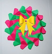 Origami Heart Wreath with bow Decor Holiday Wedding Anniversay Valentine GIFT