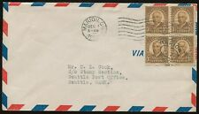 #684 1 1/2c Harding Block of 4 FDC on USPO Airmail Envelope FD4686