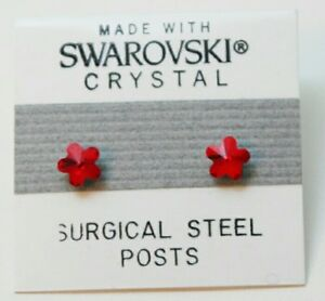 Red  Flower Stud Earrings 5mm Small Crystal Made with Swarovski Elements