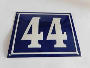 """Blue Vintage French Street House Name Number 44 - Enamel Porcelain Sign 7 x 5.5"""""""