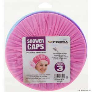 3x Waterproof Elastic Shower Cap Hat Bath Head Hair Cover Salon Shower Cap