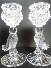 Vintage 2 Hofbauer Crystal Candle Holders w Etched Frosted Winged Bird Stems 7""