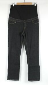 Womens Maternity Jeans Size 14 Straight Leg Black Stretch Denim Over Belly Band