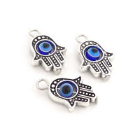 10 x Tibetan Silver Hamsa Hand Fatima blue Evil Eye Charms for Necklace Bracelet