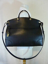 NWT FURLA Onyx Black/Gold Saffiano Leather Piper Messenger/Cross Body Bag $448