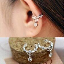Women Ear Cuff Wrap Water Drop Pendant Rhinestone Crystal Clip On Earrings Gifts