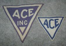 1930's Minneapolis Ace Triangular Two Color Blue & White Hockey Patches Cool!