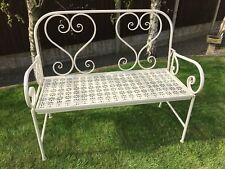 Gardman Heart Backed Metal Folding Garden Bench in Cream Free Fast Delivery