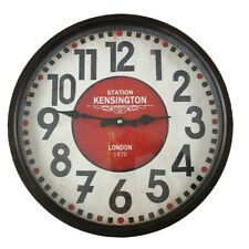 KENSINGTON STATION LONDON Bahnhofsuhr Uhr Wanduhr Eisen Vintage Style 36 cm