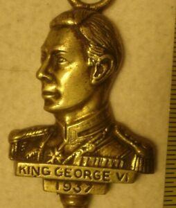 "Vintage Brass Fireplace 19-1/2"" KING GEORGE VI 1937 COAL FIRE TOASTING FORK"