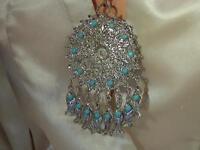 Vintage 1970s Ornate Etruscan Fish Dangle Necklace 1330n4