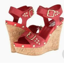 Guess Lalai Gold Studded Platform Cork Wedges In Coral Red Leather Size 9.5 New