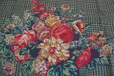 RALPH LAUREN Catherine Dark Floral Houndstooth Plaid KING PILLOWCASE RARE