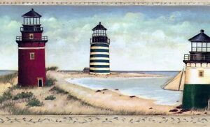 1- 5yrd Roll David Carter Brown Wallpaper Border Lighthouses- By the Sea- Beach