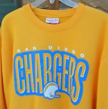 San Diego Chargers Mitchell Ness Yellow Crewneck Sweatshirt Mens XXL 2XL