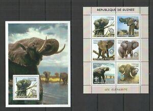 NS0012 2002 GUINEA FAUNA WILD ANIMALS LES ELEPHANTS SCOUTING 1KB+1BL MNH