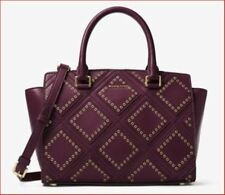NWT Michael Kors Selma Medium Diamond Grommet Leather Satchel Plum Bag $498