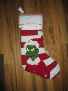 NEW POTTERY BARN The Grinch RED QUILTED CHRISTMAS STOCKING no name