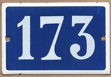 Old blue French house number 173 door gate plate plaque enamel metal sign steel