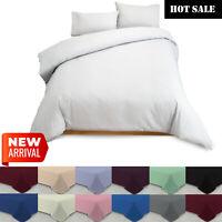 4 Piece Plain Dyed Cotton Duvet Cover Bedding Set Quilts Covers & Pillowcases UK