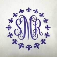 "6"" Iron On Vinyl Fleur de Lis Monogram You Pick Color Regular or Glitter"