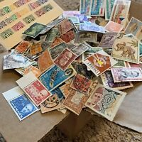 WW STAMP BOX LOT THOUSANDS OF OFF PAPER STAMPS FROM OVER 50 WORLDWIDE COUNTRIES