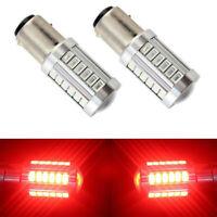 2 x RED 1157 P21/5W 380 BAY15D 33 smd CAR STOP TAIL BRAKE LED BULBS LAMP LIGHT